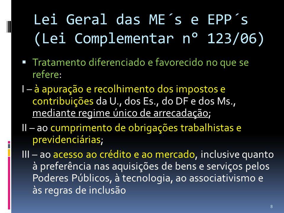 Lei Geral das ME´s e EPP´s (Lei Complementar n° 123/06)  Tratamento diferenciado e favorecido no que se refere: I – à apuração e recolhimento dos imp