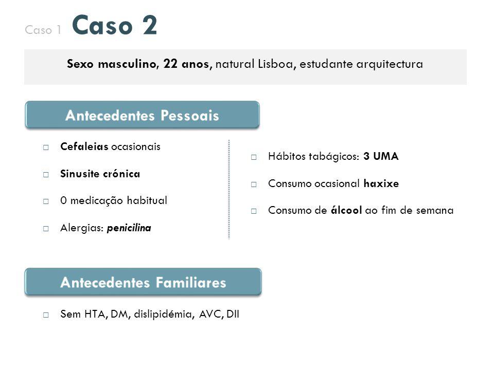 Caso 1 Caso 2 Sexo masculino, 22 anos, natural Lisboa, estudante arquitectura  Hábitos tabágicos: 3 UMA  Consumo ocasional haxixe  Consumo de álcoo