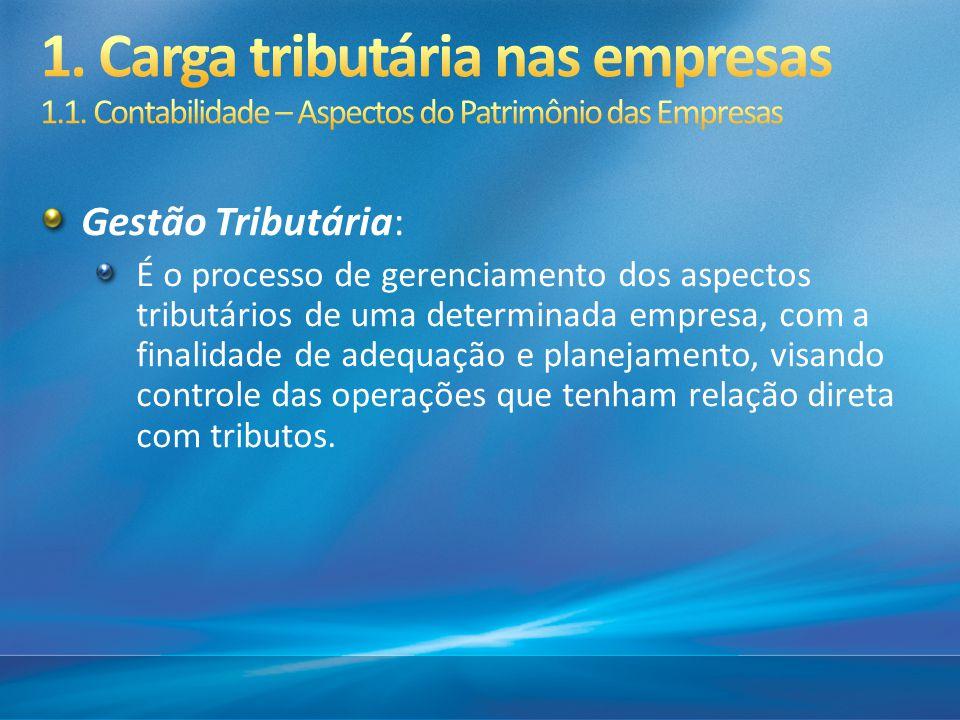 Gestão Tributária: É o processo de gerenciamento dos aspectos tributários de uma determinada empresa, com a finalidade de adequação e planejamento, vi
