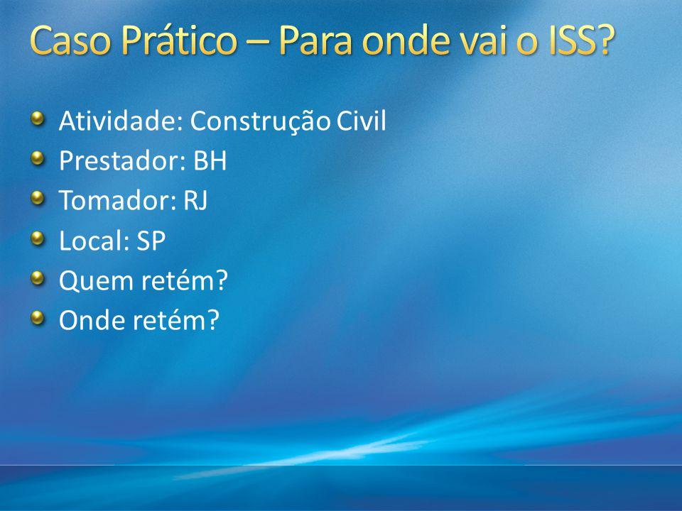 Atividade: Construção Civil Prestador: BH Tomador: RJ Local: SP Quem retém? Onde retém?