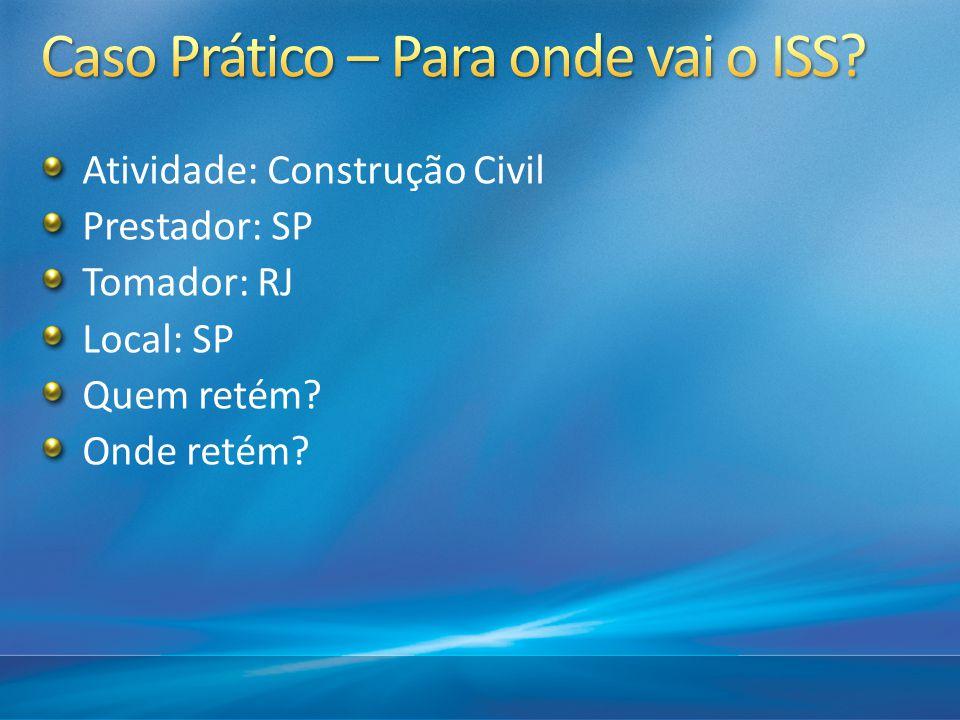 Atividade: Construção Civil Prestador: SP Tomador: RJ Local: SP Quem retém? Onde retém?
