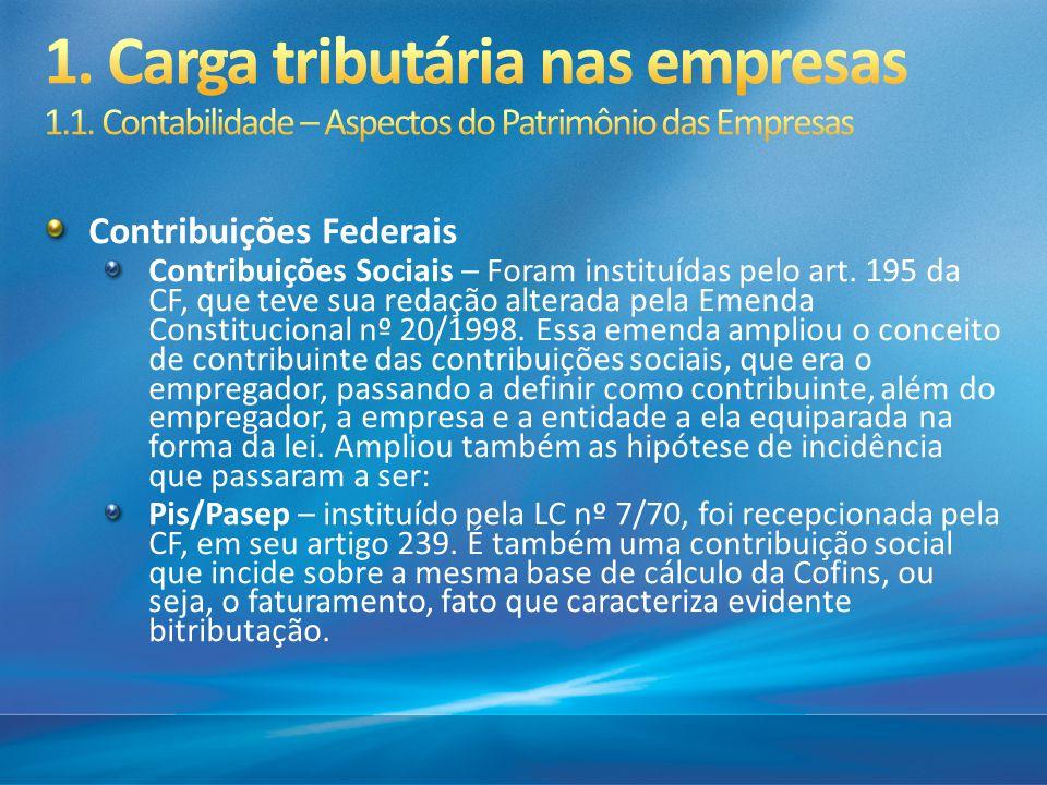 Contribuições Federais Contribuições Sociais – Foram instituídas pelo art. 195 da CF, que teve sua redação alterada pela Emenda Constitucional nº 20/1