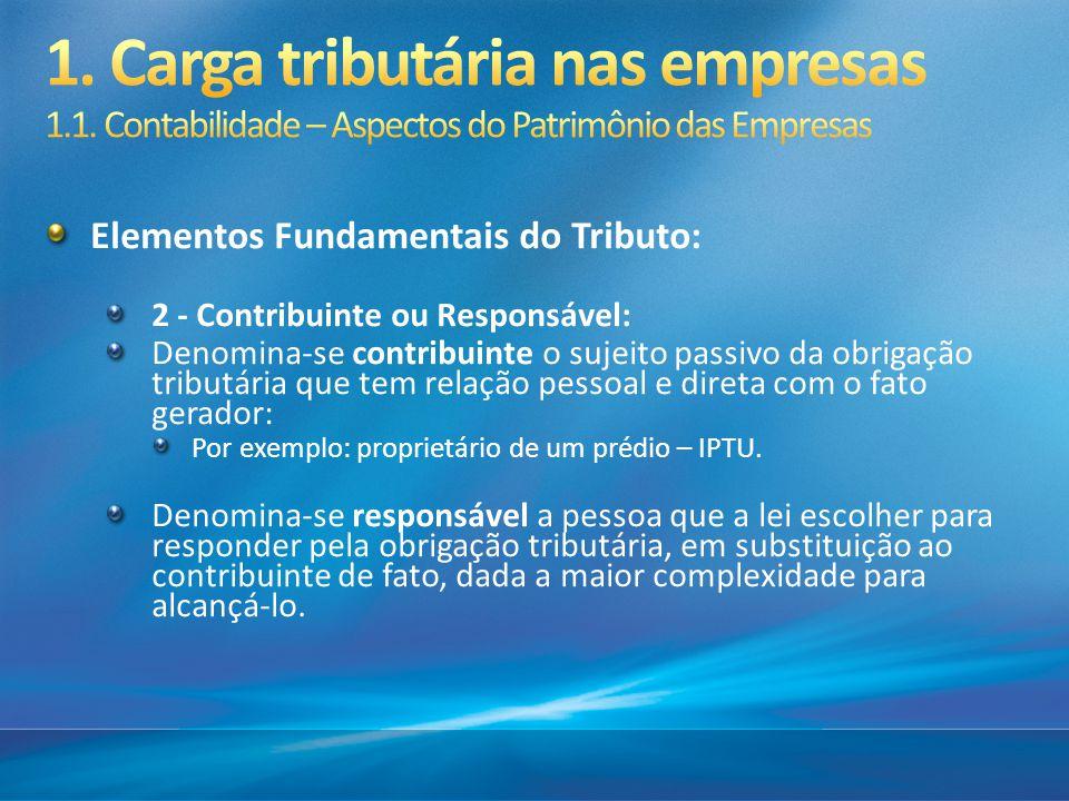 Elementos Fundamentais do Tributo: 2 - Contribuinte ou Responsável: Denomina-se contribuinte o sujeito passivo da obrigação tributária que tem relação