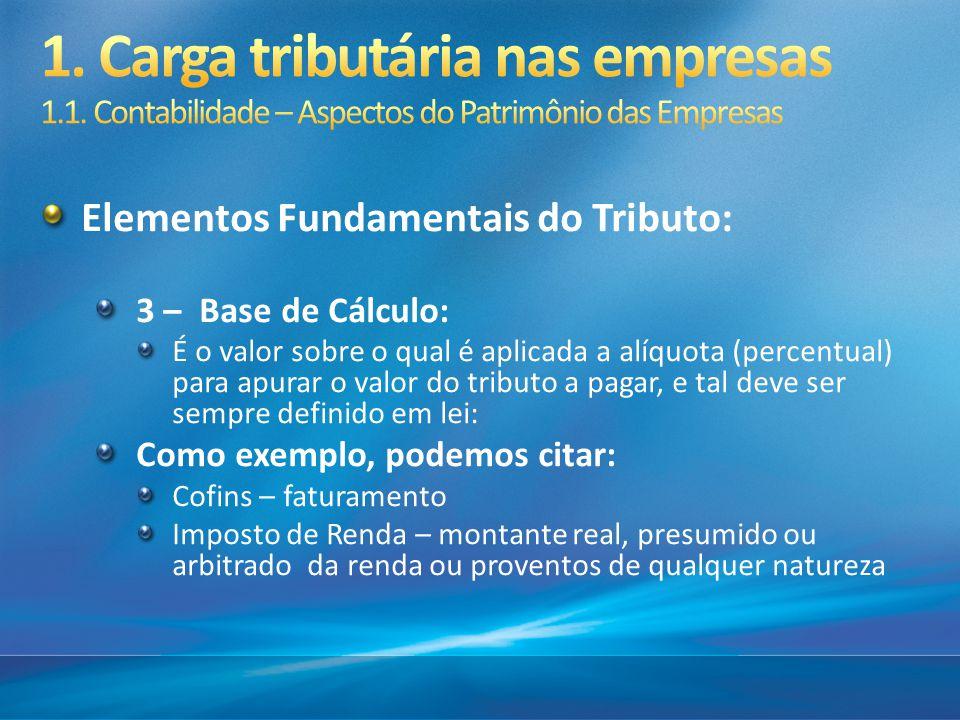 Elementos Fundamentais do Tributo: 3 – Base de Cálculo: É o valor sobre o qual é aplicada a alíquota (percentual) para apurar o valor do tributo a pag