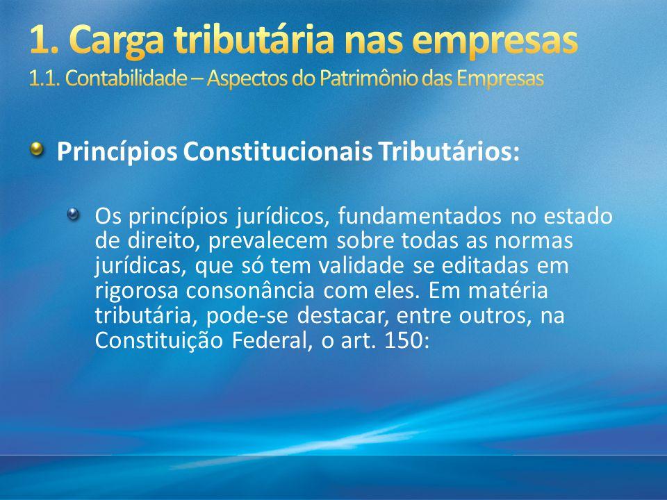 Princípios Constitucionais Tributários: Os princípios jurídicos, fundamentados no estado de direito, prevalecem sobre todas as normas jurídicas, que s