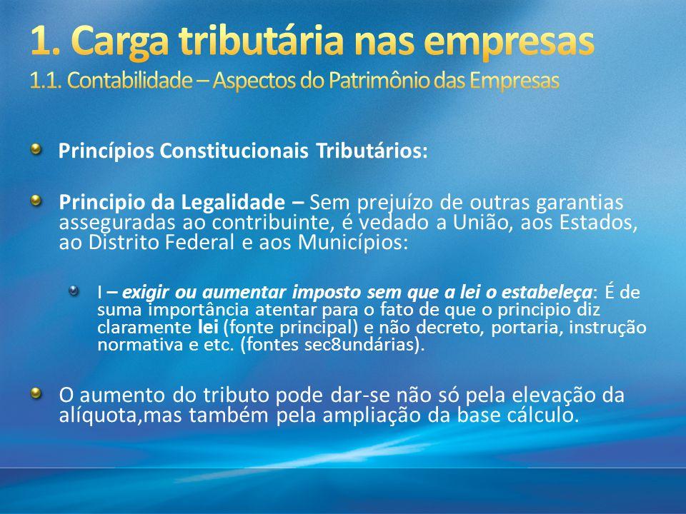 Princípios Constitucionais Tributários: Principio da Legalidade – Sem prejuízo de outras garantias asseguradas ao contribuinte, é vedado a União, aos