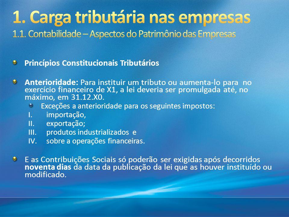 Princípios Constitucionais Tributários Anterioridade: Para instituir um tributo ou aumenta-lo para no exercício financeiro de X1, a lei deveria ser pr