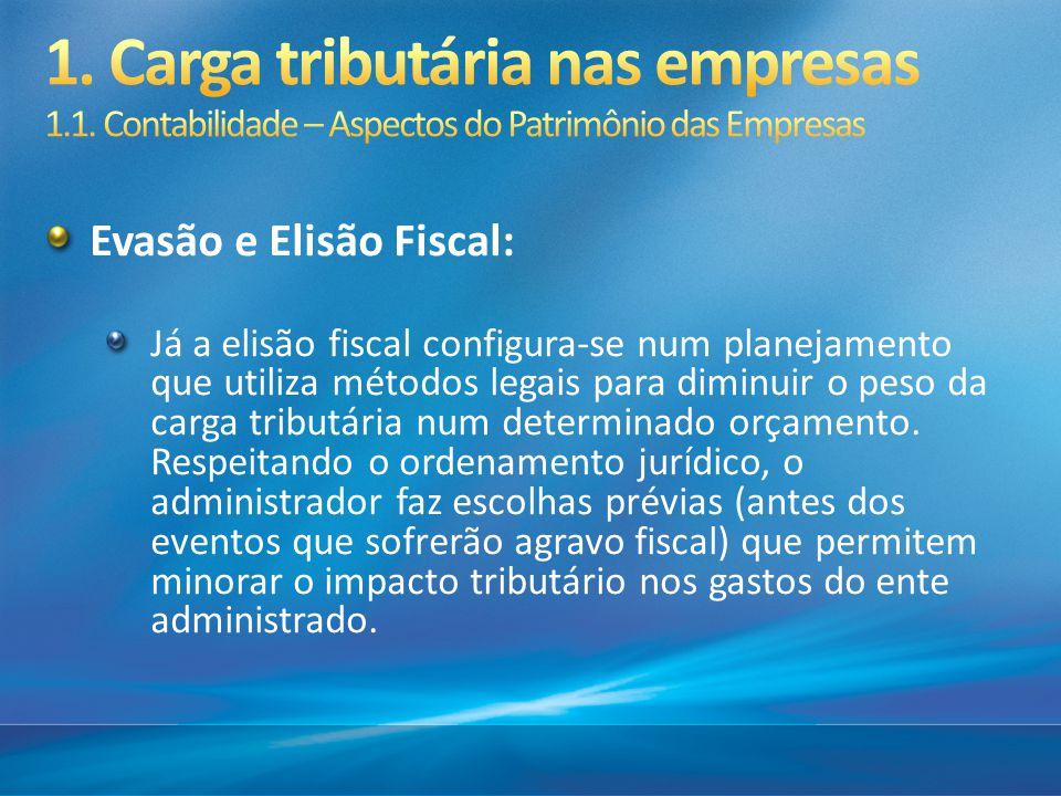 Evasão e Elisão Fiscal: Já a elisão fiscal configura-se num planejamento que utiliza métodos legais para diminuir o peso da carga tributária num deter