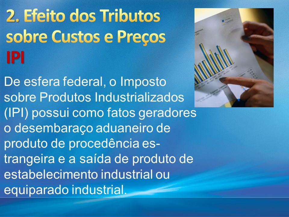 De esfera federal, o Imposto sobre Produtos Industrializados (IPI) possui como fatos geradores o desembaraço aduaneiro de produto de procedência es t
