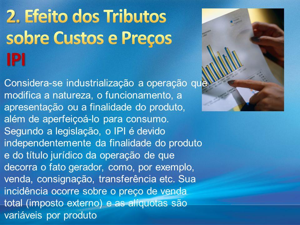 Considera-se industrialização a operação que modifica a natureza, o funcionamento, a apresentação ou a finalidade do produto, além de aperfeiçoá-lo p