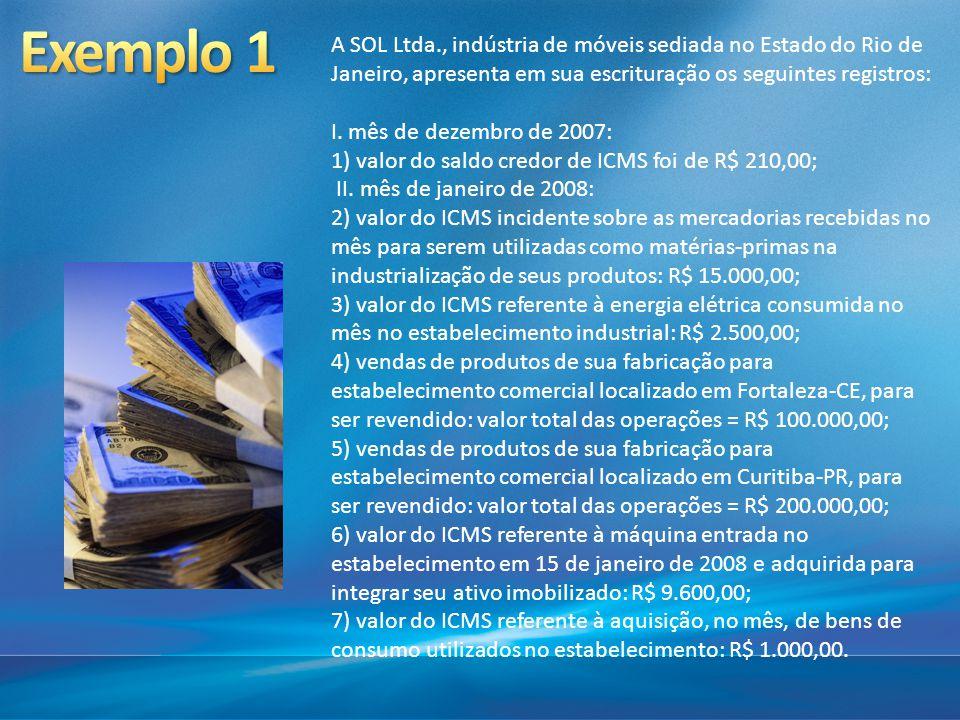 A SOL Ltda., indústria de móveis sediada no Estado do Rio de Janeiro, apresenta em sua escrituração os seguintes registros: I. mês de dezembro de 2007