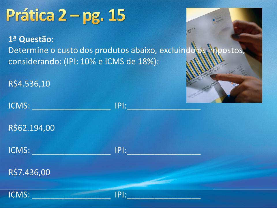 1ª Questão: Determine o custo dos produtos abaixo, excluindo os impostos, considerando: (IPI: 10% e ICMS de 18%): R$4.536,10 ICMS: _________________ I