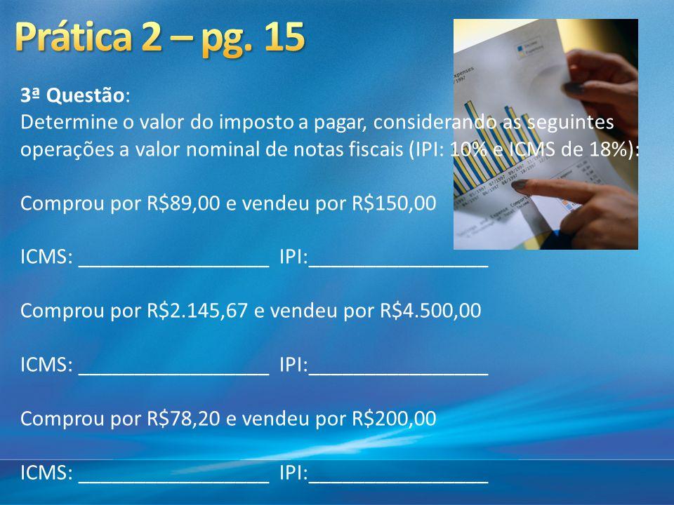 3ª Questão: Determine o valor do imposto a pagar, considerando as seguintes operações a valor nominal de notas fiscais (IPI: 10% e ICMS de 18%): Compr