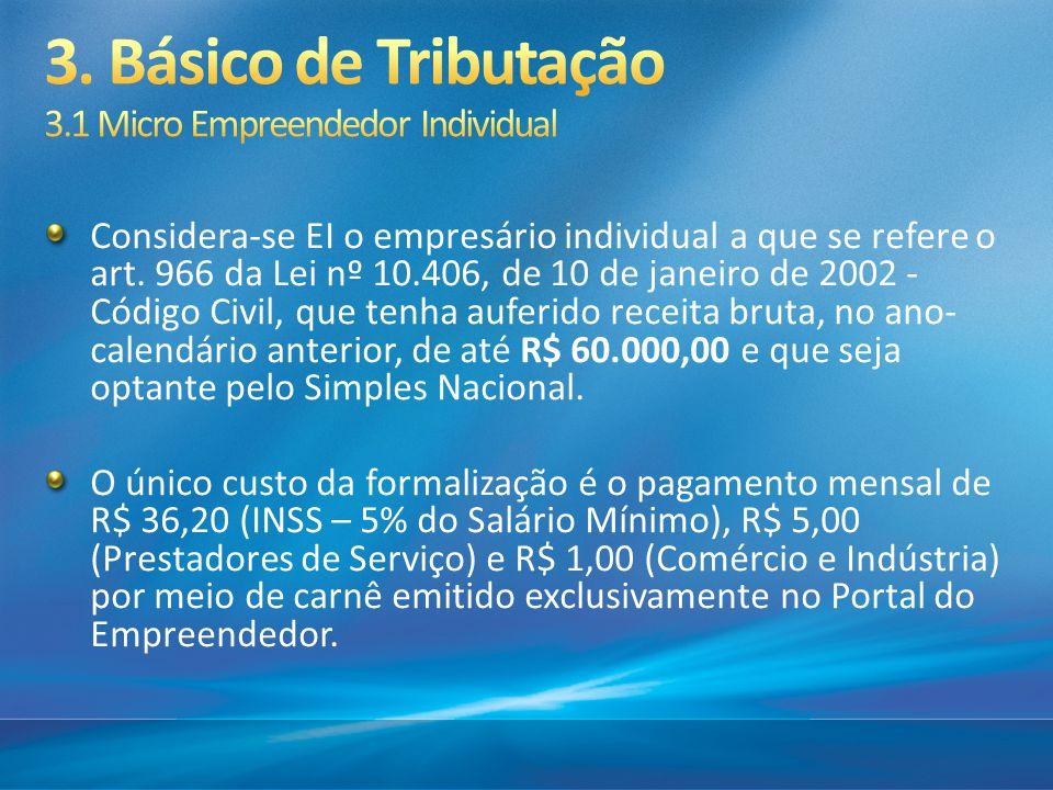 Considera-se EI o empresário individual a que se refere o art. 966 da Lei nº 10.406, de 10 de janeiro de 2002 - Código Civil, que tenha auferido recei