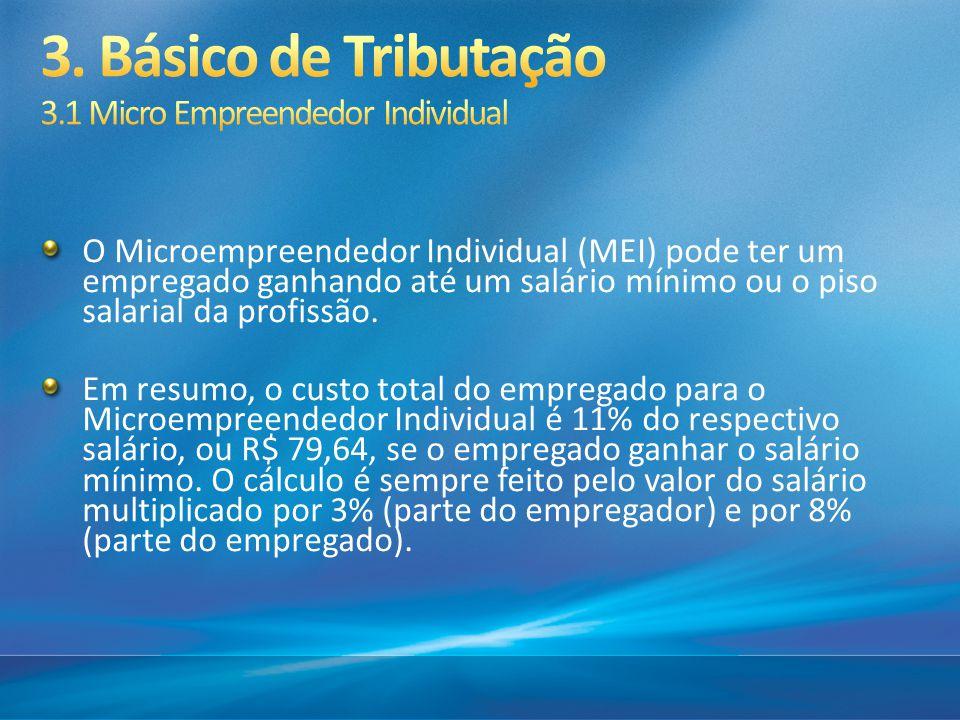 O Microempreendedor Individual (MEI) pode ter um empregado ganhando até um salário mínimo ou o piso salarial da profissão. Em resumo, o custo total do