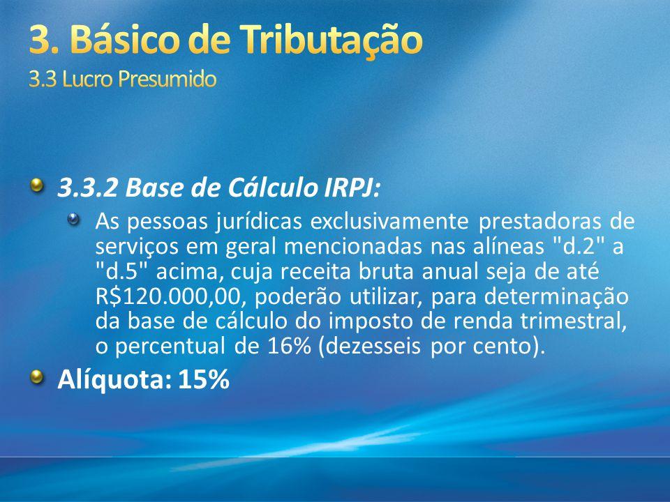 3.3.2 Base de Cálculo IRPJ: As pessoas jurídicas exclusivamente prestadoras de serviços em geral mencionadas nas alíneas