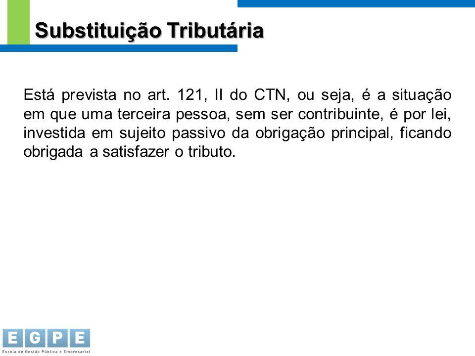Substituição Tributária Está prevista no art. 121, II do CTN, ou seja, é a situação em que uma terceira pessoa, sem ser contribuinte, é por lei, inves