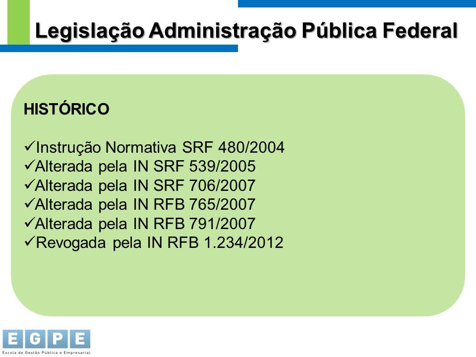 HISTÓRICO Instrução Normativa SRF 480/2004 Alterada pela IN SRF 539/2005 Alterada pela IN SRF 706/2007 Alterada pela IN RFB 765/2007 Alterada pela IN