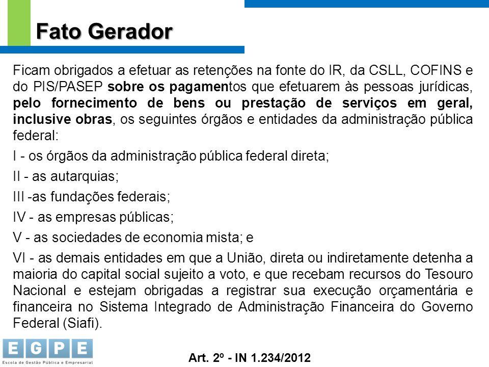 Fato Gerador Ficam obrigados a efetuar as retenções na fonte do IR, da CSLL, COFINS e do PIS/PASEP sobre os pagamentos que efetuarem às pessoas jurídi