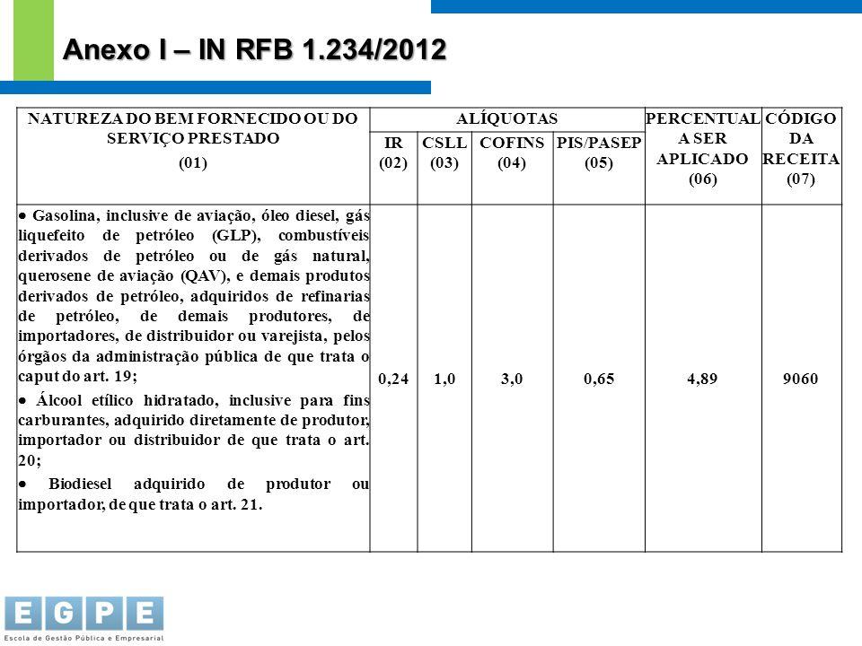 NATUREZA DO BEM FORNECIDO OU DO SERVIÇO PRESTADO (01) ALÍQUOTASPERCENTUAL A SER APLICADO (06) CÓDIGO DA RECEITA (07) IR (02) CSLL (03) COFINS (04) PIS