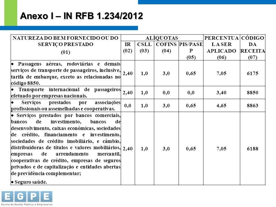 NATUREZA DO BEM FORNECIDO OU DO SERVIÇO PRESTADO (01) ALÍQUOTASPERCENTUA L A SER APLICADO (06) CÓDIGO DA RECEITA (07) IR (02) CSLL (03) COFINS (04) PI