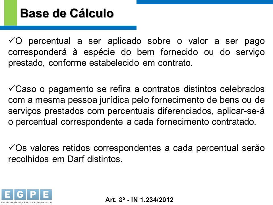Base de Cálculo O percentual a ser aplicado sobre o valor a ser pago corresponderá à espécie do bem fornecido ou do serviço prestado, conforme estabel