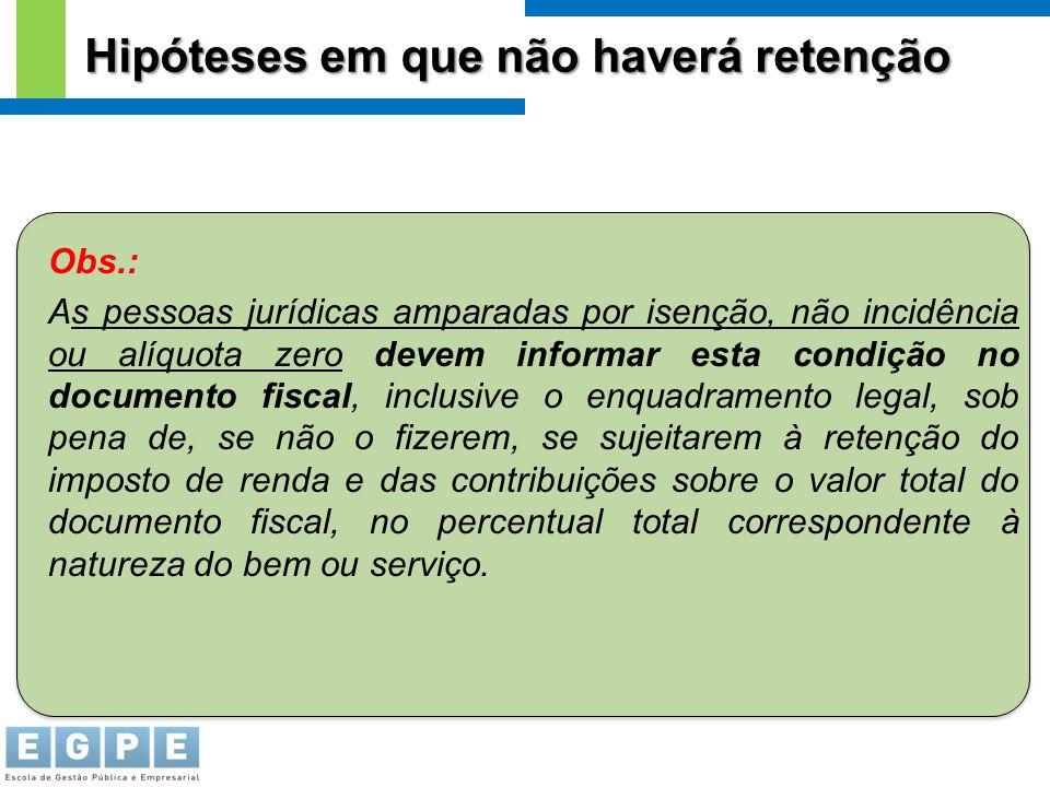 Obs.: As pessoas jurídicas amparadas por isenção, não incidência ou alíquota zero devem informar esta condição no documento fiscal, inclusive o enquad