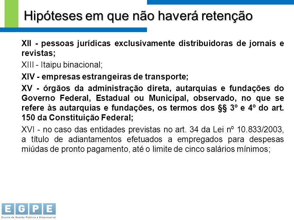 XII - pessoas jurídicas exclusivamente distribuidoras de jornais e revistas; XIII - Itaipu binacional; XIV - empresas estrangeiras de transporte; XV -