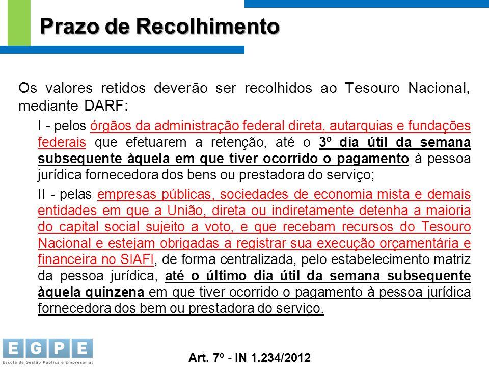 Prazo de Recolhimento Os valores retidos deverão ser recolhidos ao Tesouro Nacional, mediante DARF: I - pelos órgãos da administração federal direta,