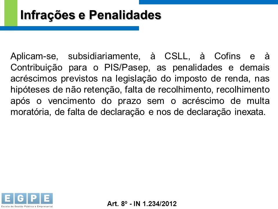 Infrações e Penalidades Aplicam-se, subsidiariamente, à CSLL, à Cofins e à Contribuição para o PIS/Pasep, as penalidades e demais acréscimos previstos