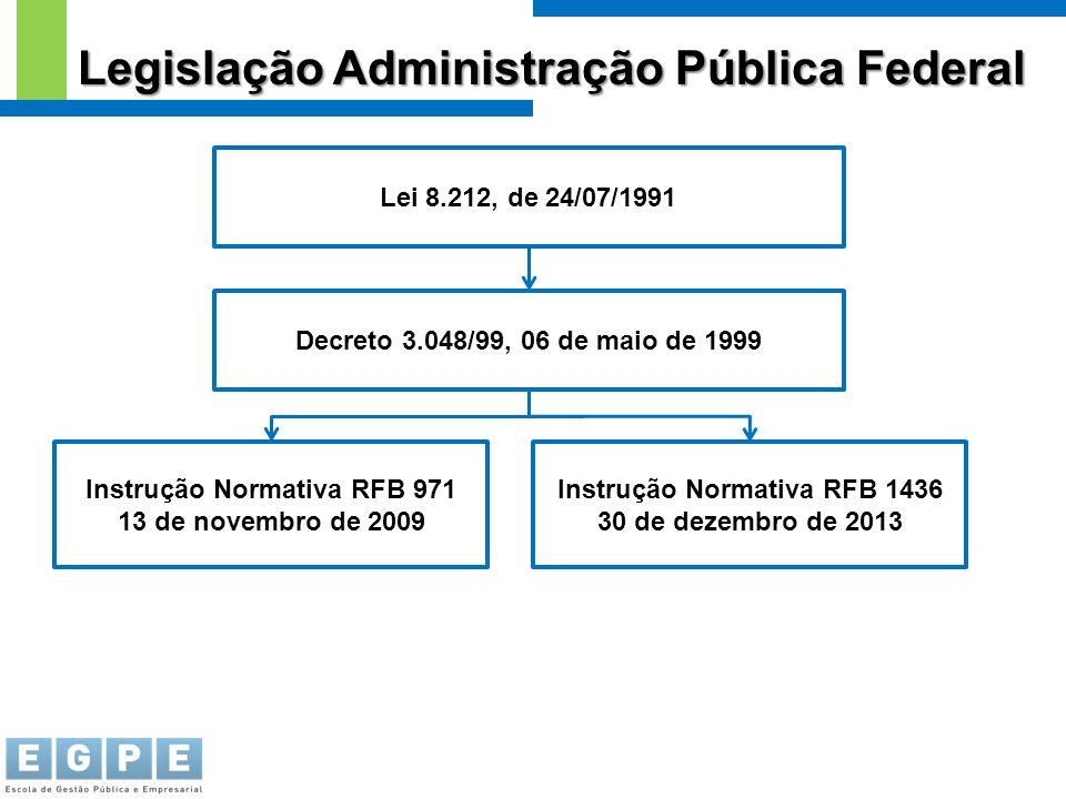 Legislação Administração Pública Federal Lei 8.212, de 24/07/1991 Decreto 3.048/99, 06 de maio de 1999 Instrução Normativa RFB 971 13 de novembro de 2