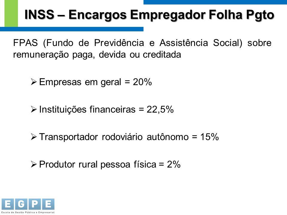 FPAS (Fundo de Previdência e Assistência Social) sobre remuneração paga, devida ou creditada  Empresas em geral = 20%  Instituições financeiras = 22