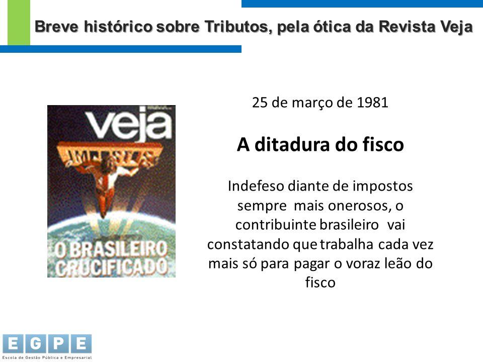 25 de março de 1981 A ditadura do fisco Indefeso diante de impostos sempre mais onerosos, o contribuinte brasileiro vai constatando que trabalha cada