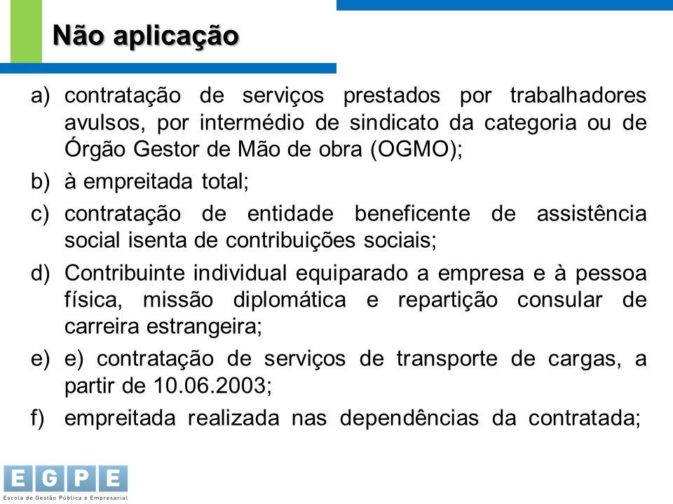 a)contratação de serviços prestados por trabalhadores avulsos, por intermédio de sindicato da categoria ou de Órgão Gestor de Mão de obra (OGMO); b)à