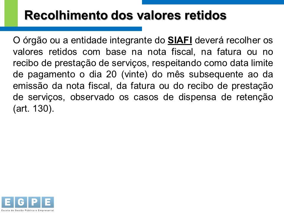 Recolhimento dos valores retidos O órgão ou a entidade integrante do SIAFI deverá recolher os valores retidos com base na nota fiscal, na fatura ou no