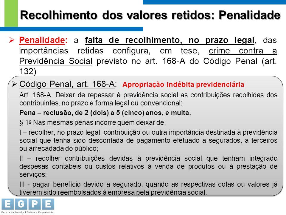 Recolhimento dos valores retidos: Penalidade  Penalidade: a falta de recolhimento, no prazo legal, das importâncias retidas configura, em tese, crime
