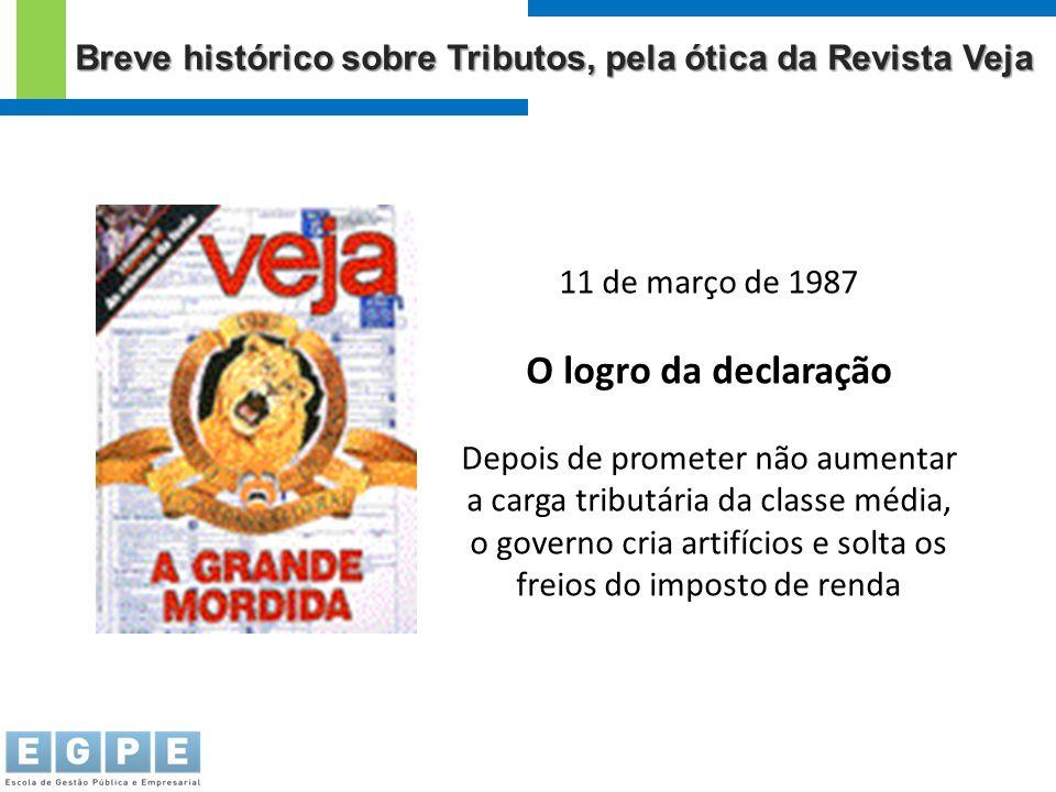 11 de março de 1987 O logro da declaração Depois de prometer não aumentar a carga tributária da classe média, o governo cria artifícios e solta os fre