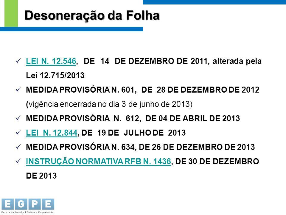 LEI N. 12.546, DE 14 DE DEZEMBRO DE 2011, alterada pela Lei 12.715/2013 LEI N. 12.546 MEDIDA PROVISÓRIA N. 601, DE 28 DE DEZEMBRO DE 2012 (vigência en