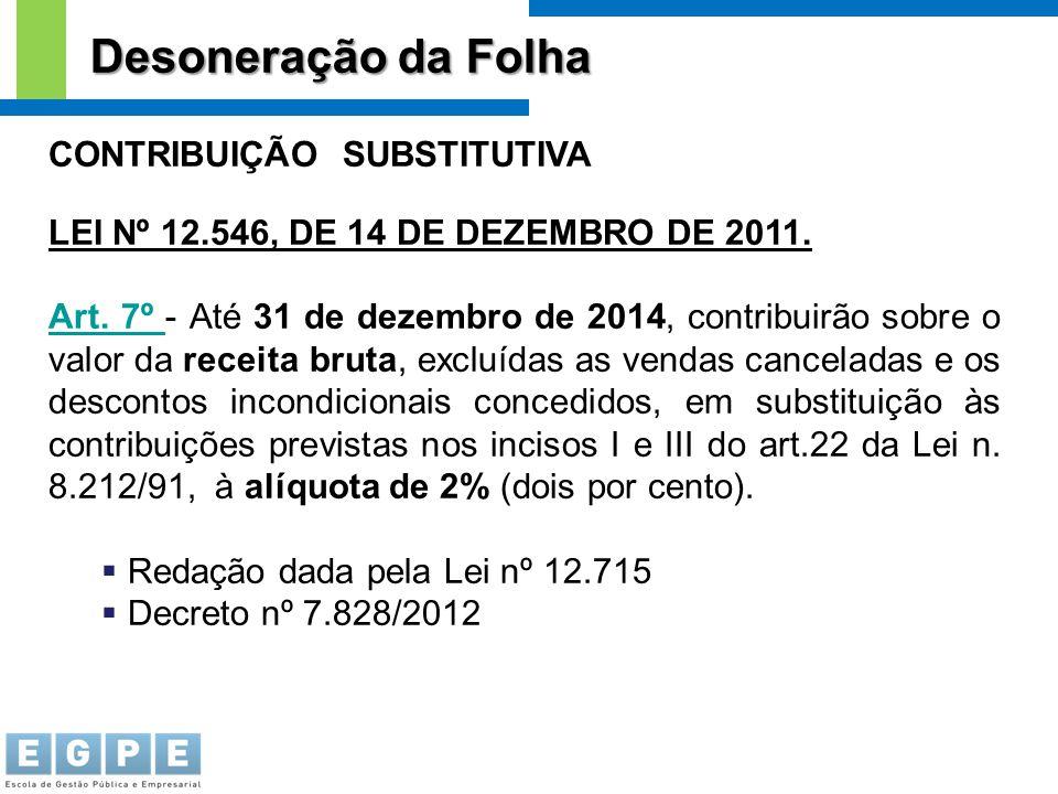 CONTRIBUIÇÃO SUBSTITUTIVA LEI Nº 12.546, DE 14 DE DEZEMBRO DE 2011. Art. 7º Art. 7º - Até 31 de dezembro de 2014, contribuirão sobre o valor da receit