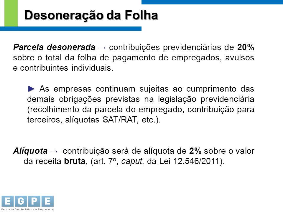 Parcela desonerada → contribuições previdenciárias de 20% sobre o total da folha de pagamento de empregados, avulsos e contribuintes individuais. ► ►