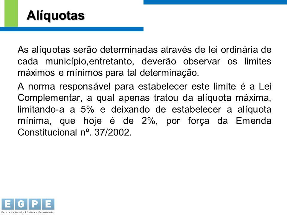 As alíquotas serão determinadas através de lei ordinária de cada município,entretanto, deverão observar os limites máximos e mínimos para tal determin