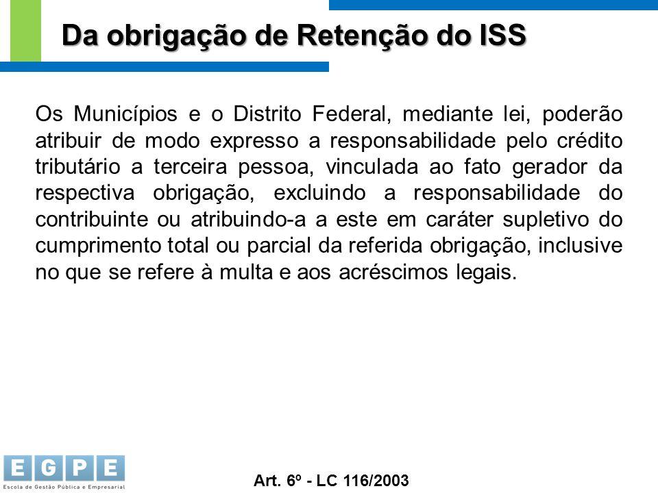 Da obrigação de Retenção do ISS Os Municípios e o Distrito Federal, mediante lei, poderão atribuir de modo expresso a responsabilidade pelo crédito tr