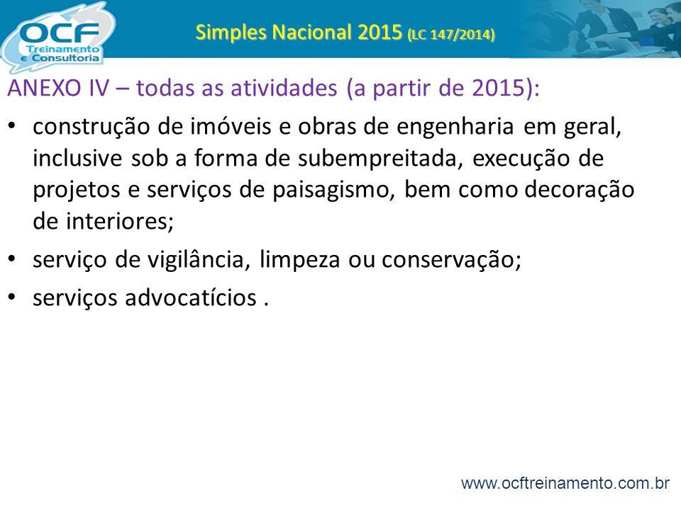 Simples Nacional 2015 (LC 147/2014) ANEXO IV – todas as atividades (a partir de 2015): construção de imóveis e obras de engenharia em geral, inclusive