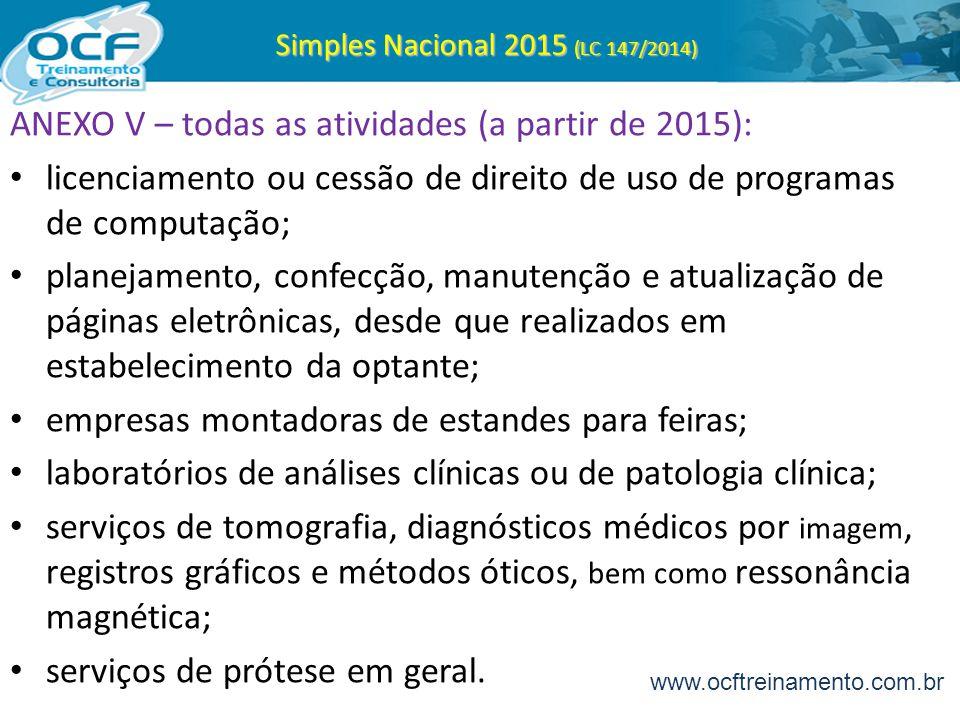 Simples Nacional 2015 (LC 147/2014) ANEXO V – todas as atividades (a partir de 2015): licenciamento ou cessão de direito de uso de programas de comput