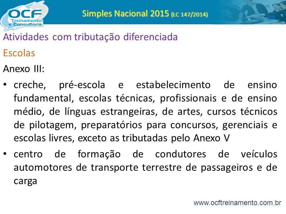 Simples Nacional 2015 (LC 147/2014) Atividades com tributação diferenciada Escolas Anexo III: creche, pré-escola e estabelecimento de ensino fundament