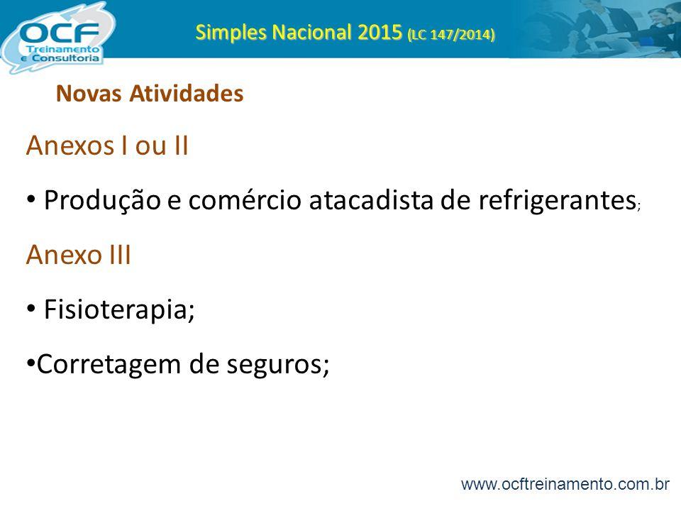 Simples Nacional 2015 (LC 147/2014) Novas Atividades Anexos I ou II Produção e comércio atacadista de refrigerantes ; Anexo III Fisioterapia; Corretag