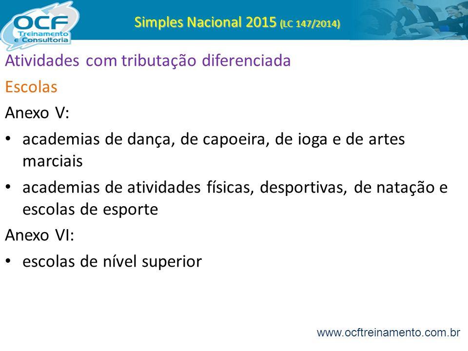 Simples Nacional 2015 (LC 147/2014) Atividades com tributação diferenciada Escolas Anexo V: academias de dança, de capoeira, de ioga e de artes marcia