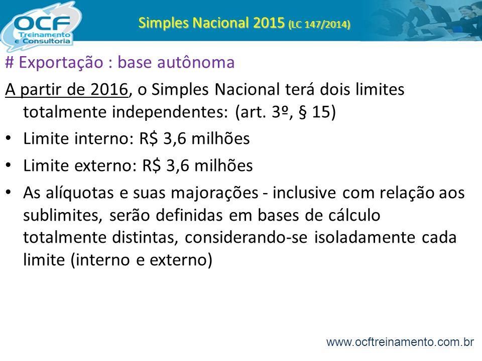 Simples Nacional 2015 (LC 147/2014) # Exportação : base autônoma A partir de 2016, o Simples Nacional terá dois limites totalmente independentes: (art