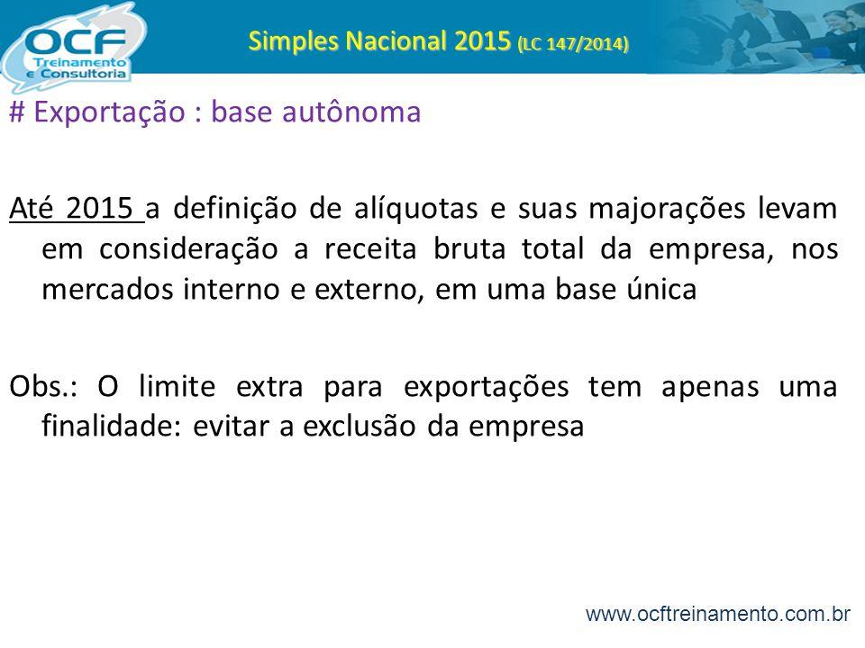Simples Nacional 2015 (LC 147/2014) # Exportação : base autônoma Até 2015 a definição de alíquotas e suas majorações levam em consideração a receita b
