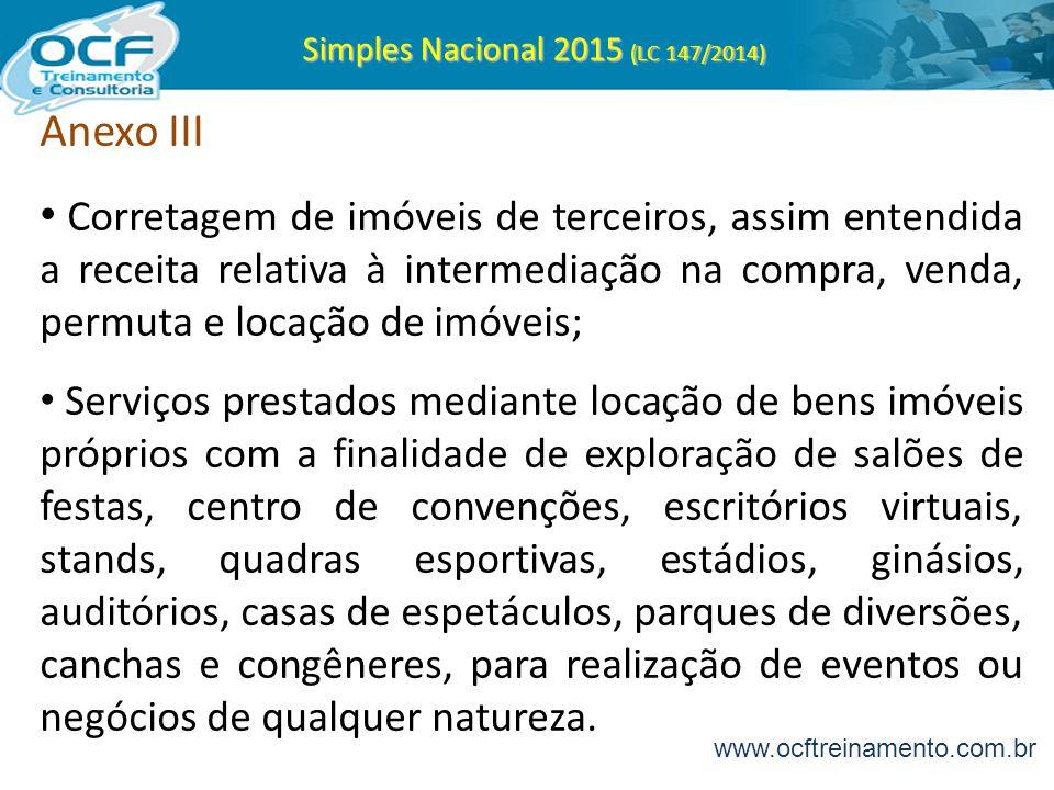 Simples Nacional 2015 (LC 147/2014) Anexo III Corretagem de imóveis de terceiros, assim entendida a receita relativa à intermediação na compra, venda,